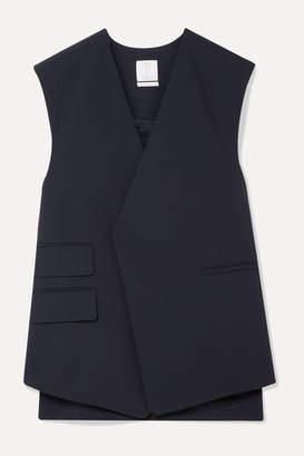 Deveaux - Trapeze Oversized Woven Vest - Midnight blue