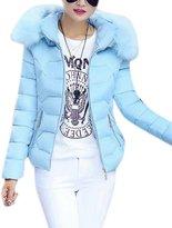 Friendshop Women's Fur Hood Solid Short Long Sleeve Down Parka Jacket Outerwear
