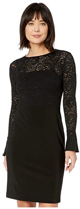 Lauren Ralph Lauren Lace-Jersey Dress (Black) Women's Clothing