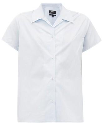 A.P.C. Marina Short-sleeved Striped Cotton Shirt - Womens - Light Blue