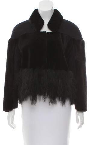 Oscar de la Renta Fur-Trimmed Stand Collar Jacket w/ Tags