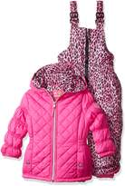 Pink Platinum Platinum Little Girls' Quilted Snowsuit with Cheetah Print