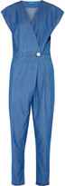 MiH Jeans Lantana wrap-effect chambray jumpsuit
