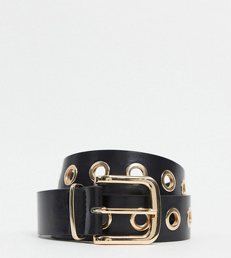 My Accessories Curve My Accessories London Curve Exclusive gold eyelet waist and hip jeans belt in black