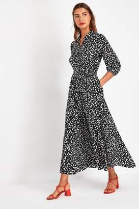 Next Womens Black/White Spot Belted Maxi Shirt Dress - Black