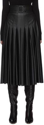 Equil Belted Pleat Midi Faux Leather Skirt