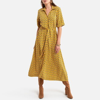 Anne Weyburn Midi Shirt Dress in Floral Print with Tie-Waist and 3/4 Length Sleeves