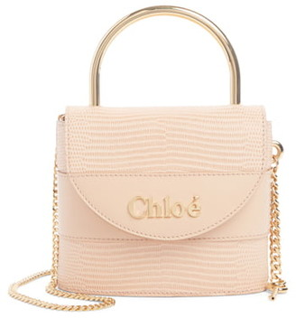 Chloé Small Aby Lock Lizard Embossed Leather Shoulder Bag