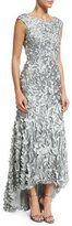 Theia Cap-Sleeve Petal Column Gown, Mist