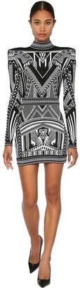 Balmain Backless Jacquard Knit Mini Dress