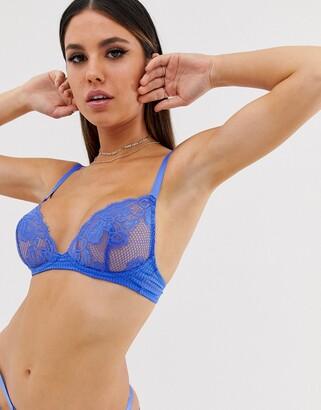 Asos Design DESIGN Thieda lace & geo soft triangle bra-Blue