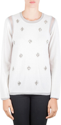 Rebecca Taylor Ivory and Grey Crystal Embellished Mesh Inset Crew Neck Sweater M