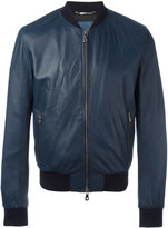 Dolce & Gabbana leather bomber jacket - men - Calf Leather/Acetate/Viscose/Cotton - 50