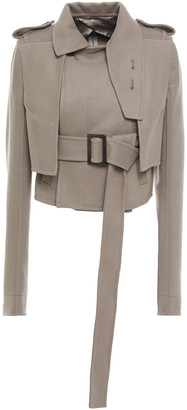 Rick Owens Cropped Belted Wool-blend Felt Jacket