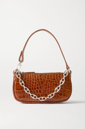BY FAR Rachel Mini Chain-embellished Croc-effect Leather Shoulder Bag - Tan