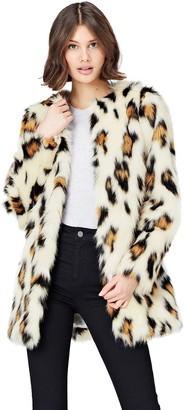 Find. Amazon Brand Women's Animal Print Faux Fur Coat