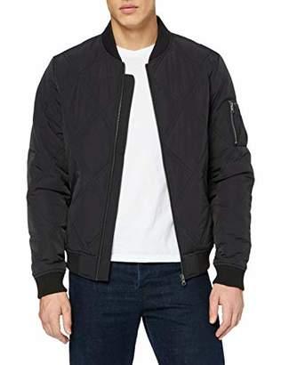 Urban Classic Men's Big Diamond Quilt Bomber Jacket,S