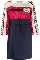 Gucci shortGG embroidered patch striped dress