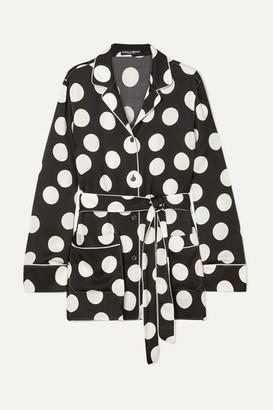 Dolce & Gabbana Belted Polka-dot Silk-blend Satin Shirt - Black