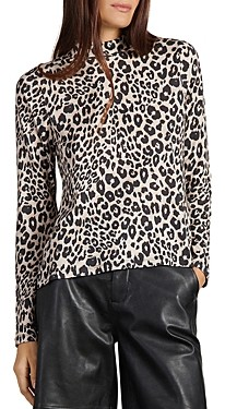 Sanctuary Perfect Animal Print Mock Neck Tee