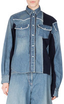 Sacai Long-Sleeve Patchwork Denim Shirt, Blue