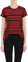 Proenza Schouler Women's Blurred-Stripe T-Shirt-BURGUNDY, BLACK, RED