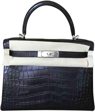 Hermes Kelly 28 Black Crocodile Handbags