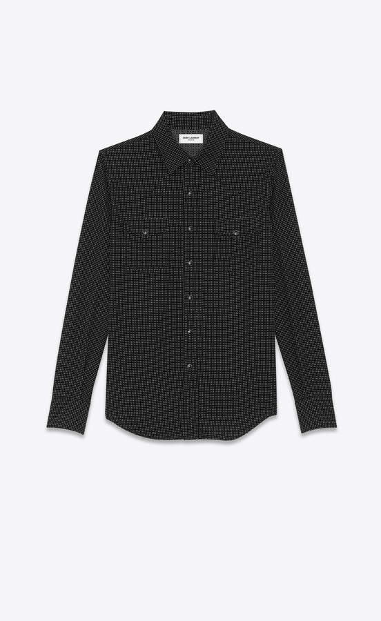 d865068d36 Western Shirts Two-color Stonewashed Western-style Shirt With Black Dots  Black L