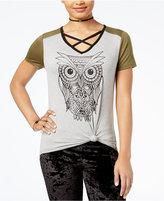 Rebellious One Juniors' Crisscross Owl Graphic T-Shirt