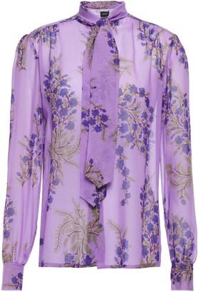 Giambattista Valli Tie-neck Floral-print Silk-georgette Blouse