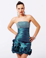 Blush Lingerie Glittering Strapless Rosette Mini Party Dress 9083
