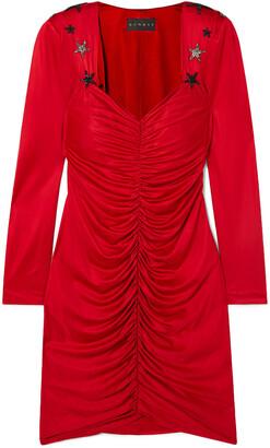 Dundas Crystal-embellished Ruched Satin Mini Dress