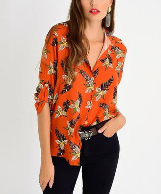 Milan Kiss Women's Button Down Shirts ORANGE-FLORAL - Orange Floral Roll-Tab Sleeve Button-Up - Women