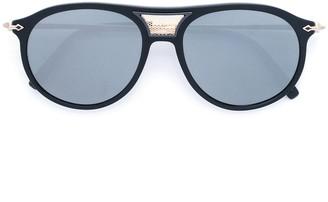 Matsuda Aviator Sunglasses With Detachable Leather Side Shield Clip