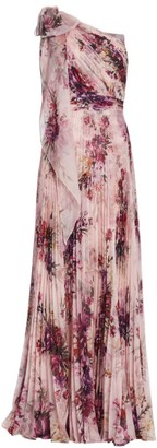 Marchesa Floral Asymetrical Pleated Gown
