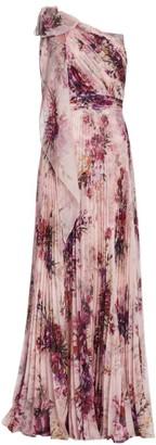 Marchesa Floral Asymmetrical Pleated Gown