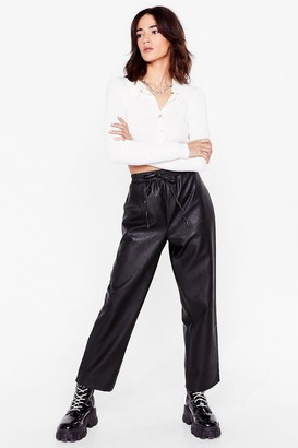 Nasty Gal Womens Faux Leather Called You Back Petite Jogger Trousers - Black - 4