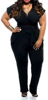 Leezeshaw Women's Short Sleeve Belted Plus Size Jumpsuit