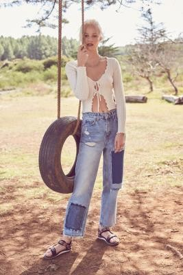 BDG Jackson Patchwork Straight Leg Jeans - Blue 24W 30L at Urban Outfitters