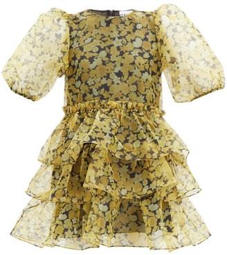 Ganni Tiered Floral-print Organza Dress - Yellow Print