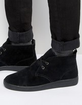 Bellfield Borg Lined Chukka Boot In Black Suede