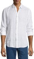 Theory Linen Long-Sleeve Sport Shirt, White