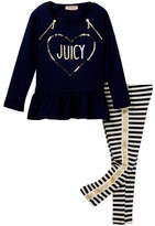 Juicy Couture Ruffle Bottom Heart Tunic & Stripe Pant Set (Little Girls)