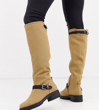 ASOS DESIGN Wide Fit Broadcast biker knee high boots in khaki