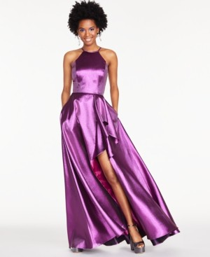 Thumbnail for your product : Blondie Nites Juniors' Metallic Ruffled Slit Gown