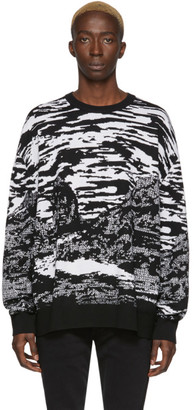 Marcelo Burlon County of Milan Black and White Wool All Over Mountains Sweater