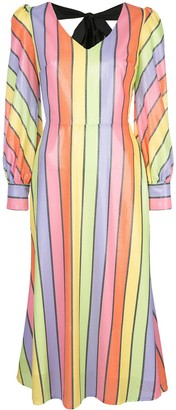 Olivia Rubin Bow-Back Striped Sequin Midi Dress