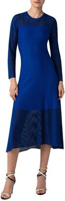 Akris Long Sleeve Transparent Stripe Midi Dress
