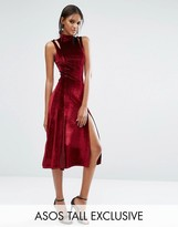 Asos Tall Velvet Midi Dress With Splices And Cut Out Shoulder Detail