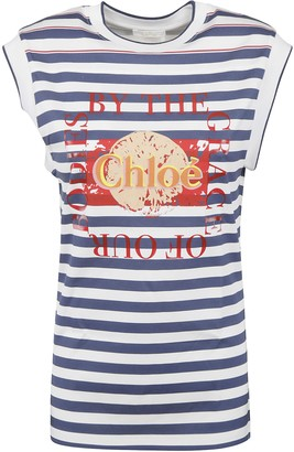 Chloé Logo Stripe Tank Top